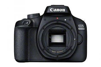 Canon eos 4000d con attacco dell'obiettivo in plastica