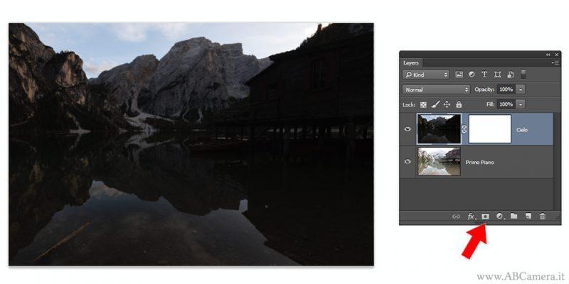 unire la doppia esposizione con Photoshop con la maschera di livello