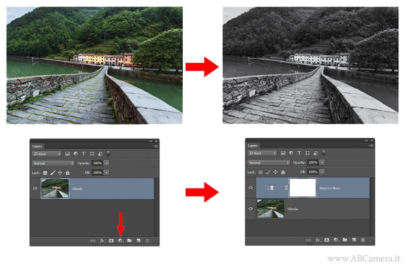 applicare livello di regolazione bianco e nero in photoshop
