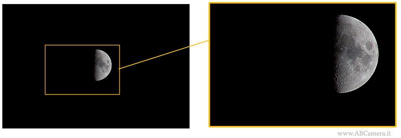 Fotografare la luna e farla sembrare più grande ritagliando l'immagine