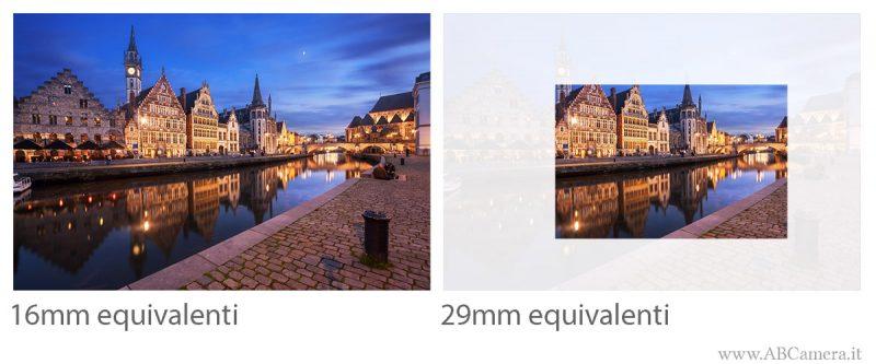 confronto tra una foto con grandangolo da 16mm e con obiettivo da 29mm