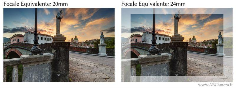 confronto fra lunghezza focale di 20mm e 24mm