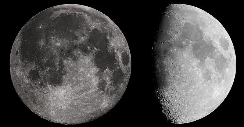 confronto tra foto della luna piena e gibbosa