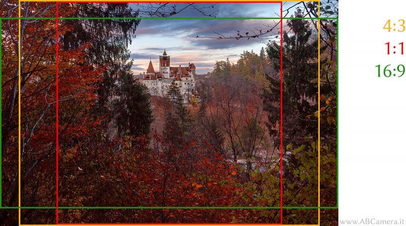 fotografia con rapporto d'aspetto 3:2 ritagliata in diversi formati (4:3, 16:9, 1:1)