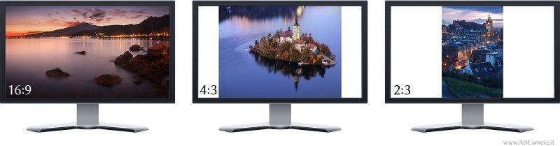 visualizzazione di fotografie in diversi formati su uno schermo panoramico