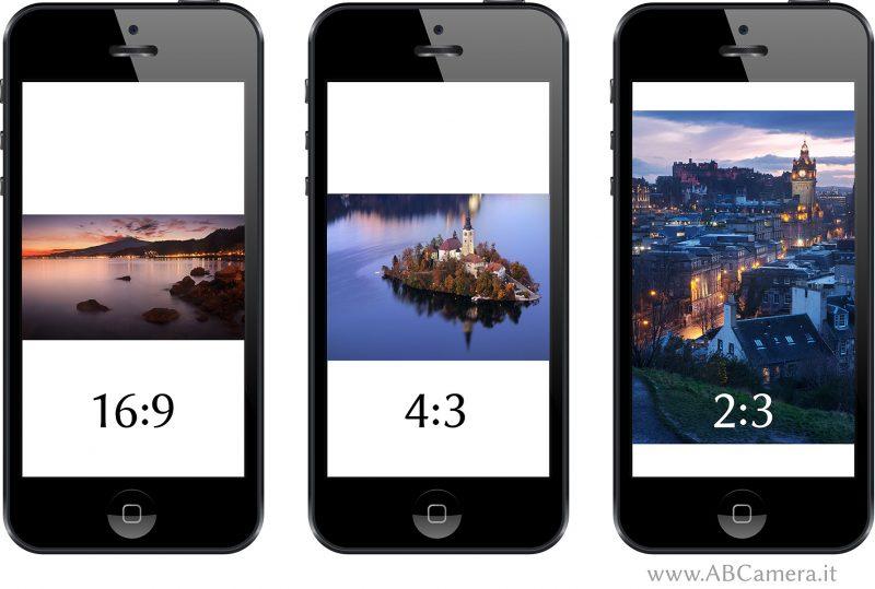 visualizzazione di fotografie in diversi formati sul display di uno smartphone